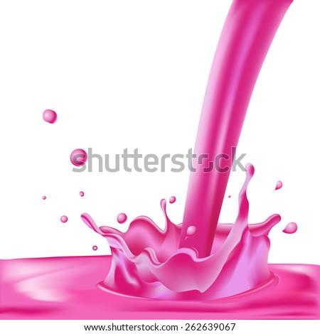 pink splash of liquid - vector illustration isolated on white background - stock vector