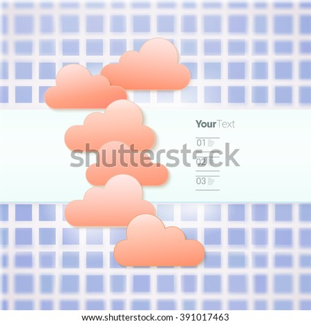 Pink Spring Clouds on a Purple Rectangular Mosaic Sky - stock vector