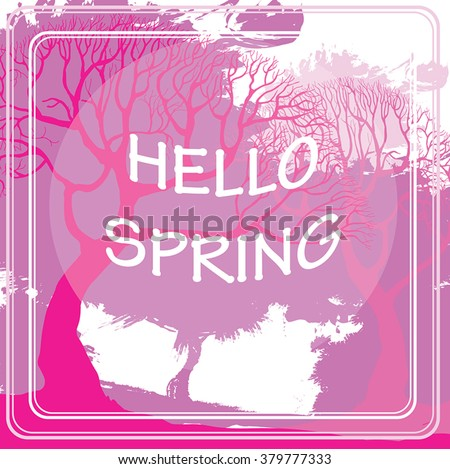 Pink spring trees - vector watercolor style inspirational poster with typography text Hello Spring. Hand drawn creative illustration of sakura park. Best for spring sales, banners, advertisement.  - stock vector
