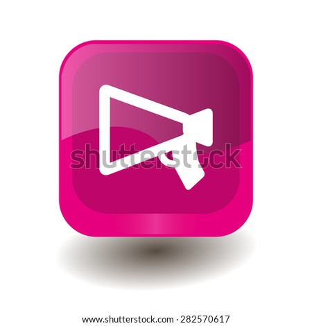 Pink square button with white mouthpiece (announcing) sign, vector design for website - stock vector