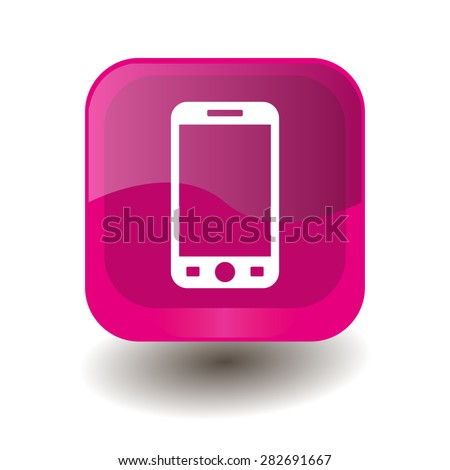 Pink square button with white smartphone sign, vector design for website - stock vector