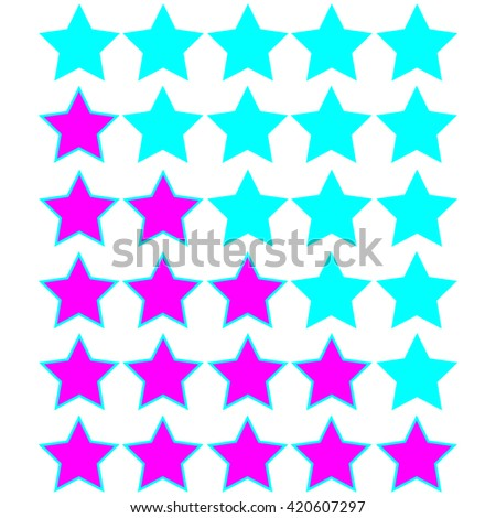 pink stars of rating on azure stars - stock vector