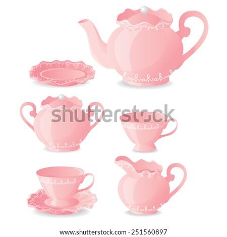 Pink Tea Set - stock vector