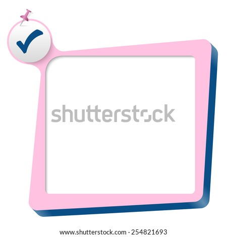 pink text box and blue check box - stock vector