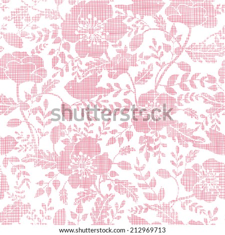 Pink textile birds and flowers seamless pattern background - stock vector