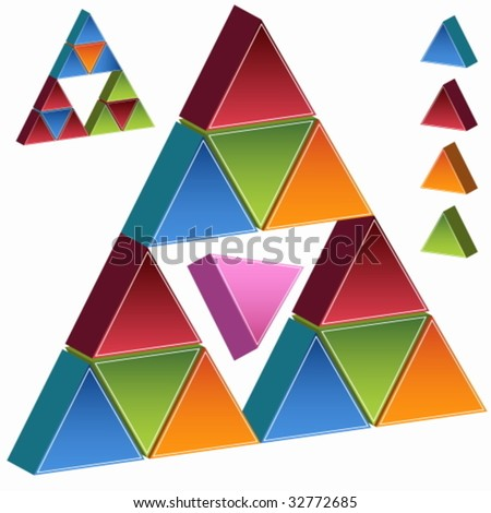 Pink Triangle Pyramid - stock vector