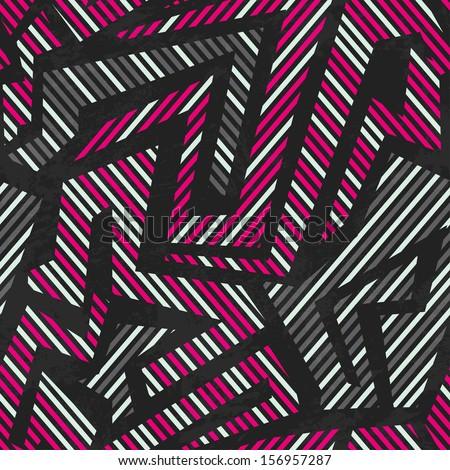 pink tribal geometric seamless pattern - stock vector