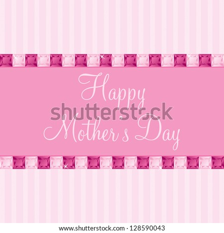 Pink two toned Mother's Day gem card in vector format. - stock vector