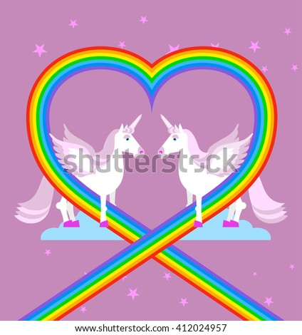 Pink unicorn on purple sky. Heart of rainbow. LGBT characters. Fantastic animal with wings. fabulous beast with horn in his forehead