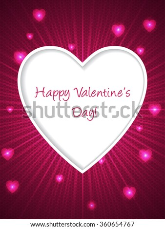 Pink valentine day greeting card with bursting heart shape - stock vector