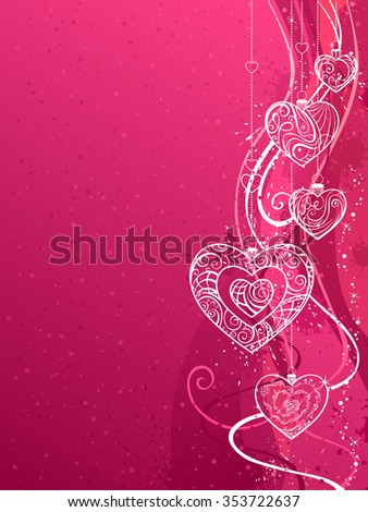 Pink Valentine's background. Hand-drawn ornate hearts. There is place for your text on left side.   - stock vector