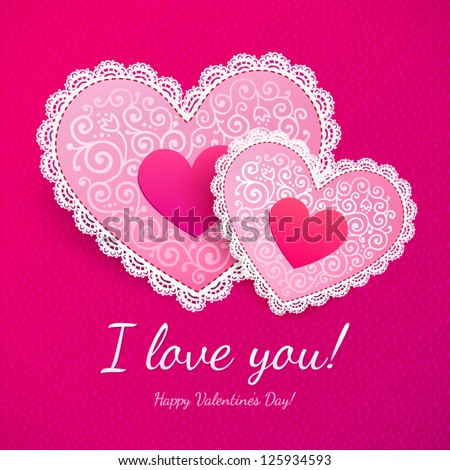 """Pink Valentine's day lacy hearts vector greeting card with sign """"I love you!"""" - stock vector"""