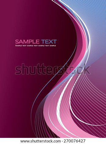 Pink Vector Background with Wavy Lines. - stock vector