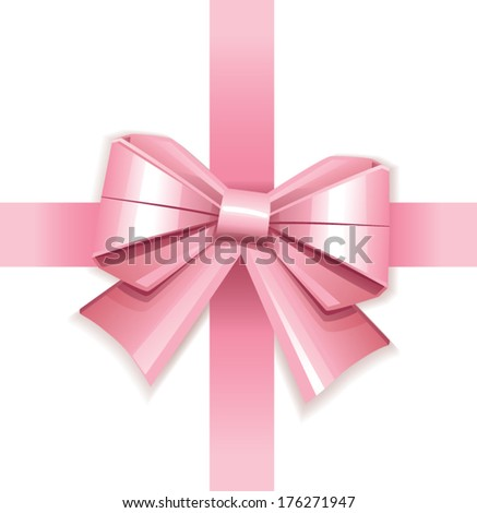 Pink vector gift bow  - stock vector