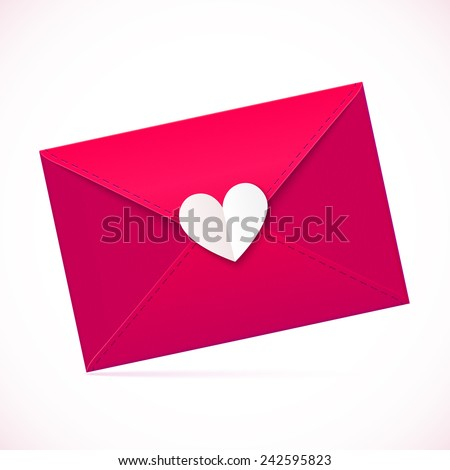 Pink vector paper envelope with white heart - stock vector