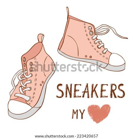 Pink vector  sneakers - stock vector