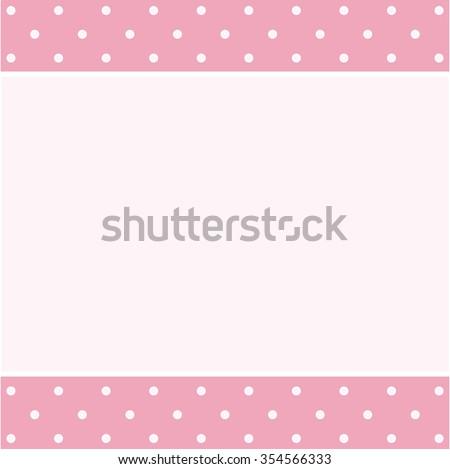 Pink vintage frame on polka dots retro pattern - stock vector