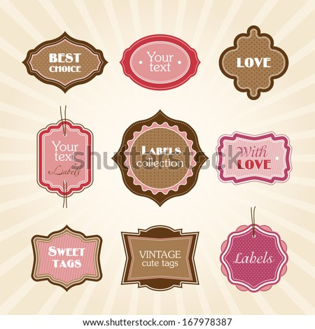 Pink vintage labels - stock vector