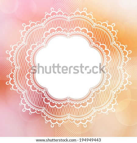 Pink vintage lace border - stock vector