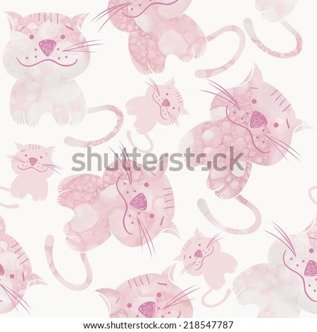 Pink water and foam. Seamless pattern with cats - stock vector