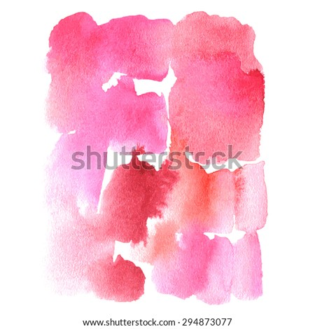 Pink watercolor background. Pink watercolor streaks. Pink watercolor dripping strokes. Abstract watercolor background. Hand painted watercolor background.  Wet painted watercolor background. - stock vector