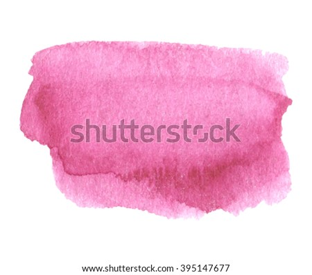 Pink watercolor colorful shine hand drawn paper grain texture isolated vector stain on white background for decoration, design, scrapbook, print. Abstract water artistic brush paint splash element - stock vector