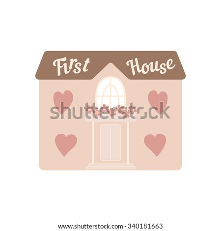 Pink wedding house for newlyweds with windows hearts. Element for your wedding designs, valentine s day projects, and other your romantic projects. - stock vector