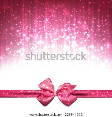 Pink winter abstract background. Christmas background with ribbon and bow. Vector.  - stock vector