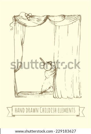 Pinocchio on stage is opening theater curtains for the kids show. Hand drawn vector illustration, childish style, perfect for school play posters. - stock vector