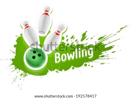 Pins and ball for playing the bowling game over grunge splash. Eps10 vector illustration. Isolated on white background - stock vector