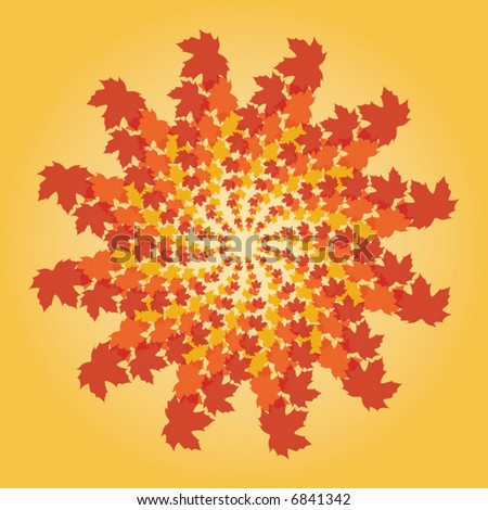 pinwheel of fall leaves on a yellow background - stock vector