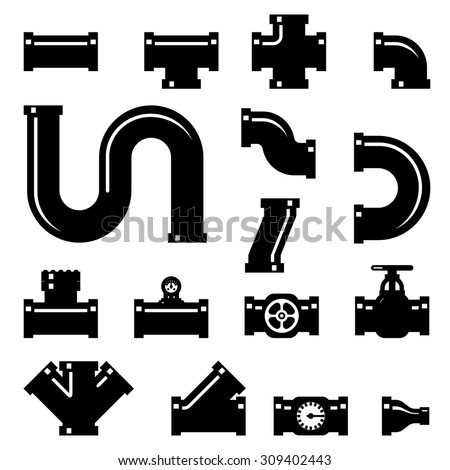Pipe fittings vector icons set. Tube industry, construction pipeline, drain system, vector illustration - stock vector
