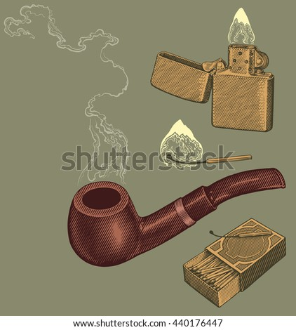Pipe, matches and lighters. Design set 2. Hand drawn engraving. Vector illustration. 8 EPS - stock vector