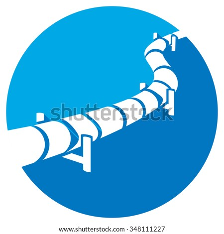 pipeline flat icon (pipeline button) - stock vector