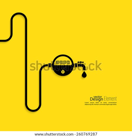 Pipeline with the meter of water, gas, gasoline, kerosene. Flat design. Concept of saving resources. - stock vector