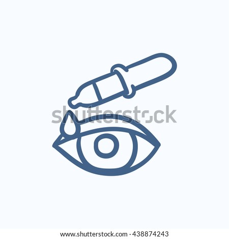 Pipette and eye vector sketch icon isolated on background. Hand drawn Pipette and eye icon. Pipette and eye sketch icon for infographic, website or app. - stock vector