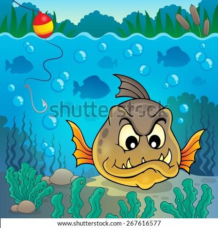 Piranha fish underwater theme 4 - eps10 vector illustration. - stock vector