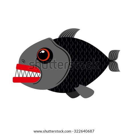 Piranha marine predator on white background.Terrible sea fish with sharp teeth. Scary eyes and sharp teeth. - stock vector