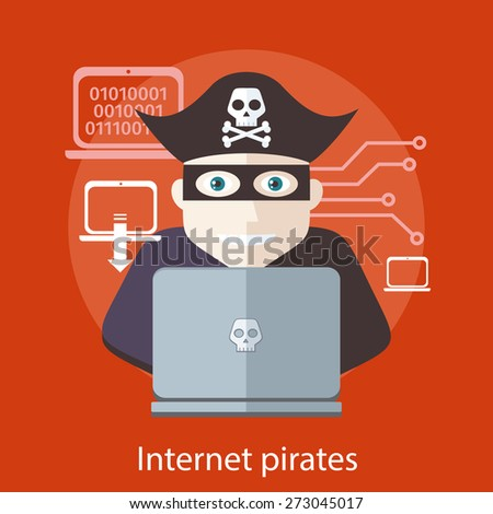 Pirate attacking with a knife a laptop computer as internet pirate. Can be used for web banners, marketing and promotional materials, presentation templates  - stock vector
