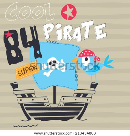 pirate bird on board striped background vector illustration - stock vector