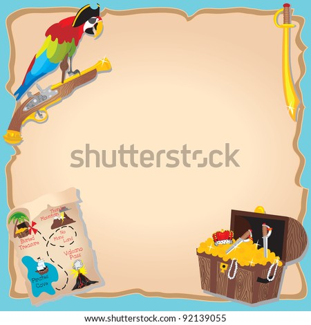 Pirate Birthday Party  and treasure hunt Invitation with peg legged parrot, map and chest - stock vector