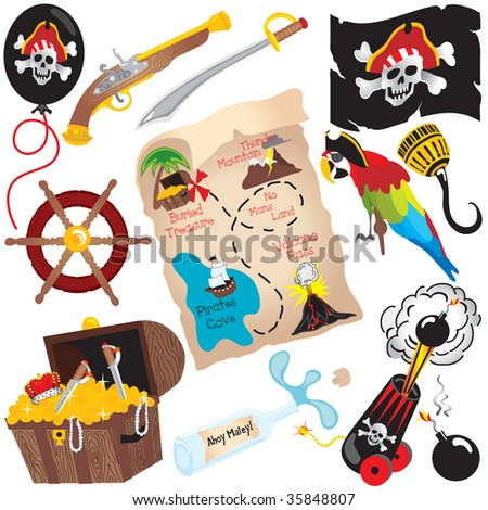 Pirate Birthday Party Clip art elements, isolated on white - stock vector