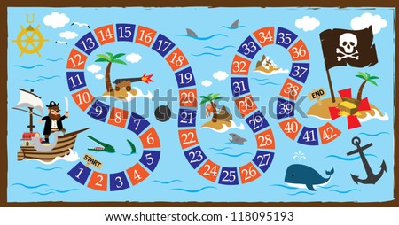 pirate board game - stock vector