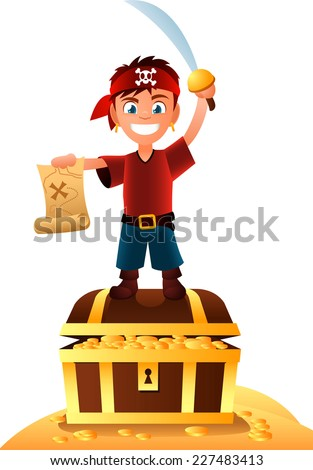 Pirate boy with treasure holding a map in his hand. - stock vector