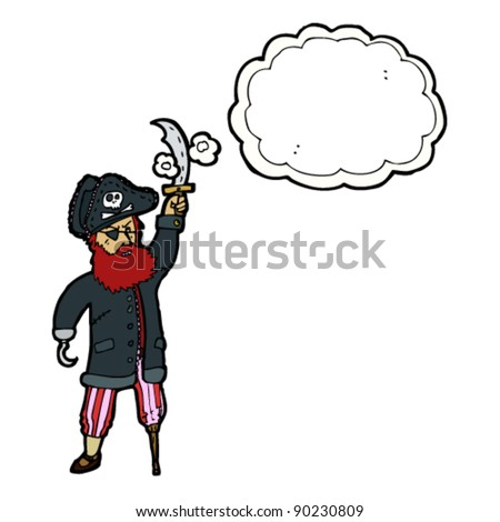 pirate captain with thought bubble - stock vector