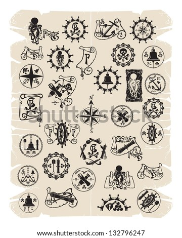 Pirate emblems, stamps, prints, vector - stock vector