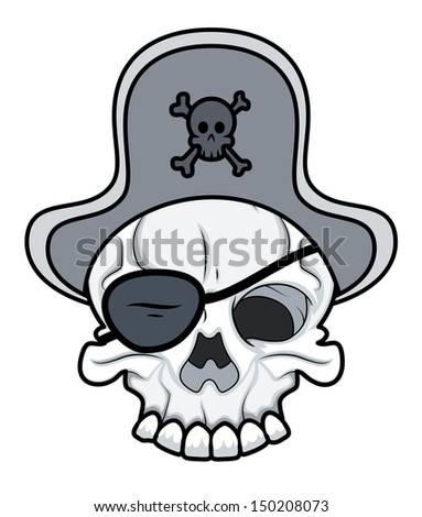 Pirate Eye Patched Tattoo Skull - stock vector