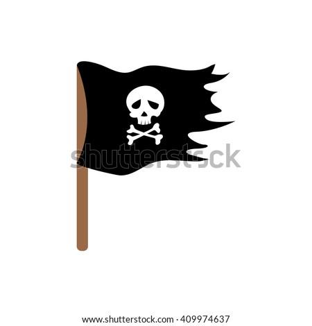 Pirate flag. Illustration for design on white background - stock vector