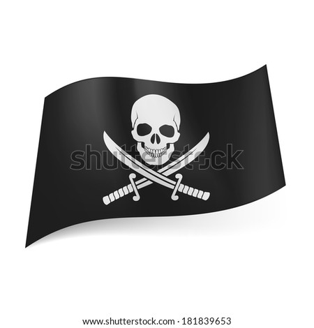 Pirate flag of skull with crossed sabers on black background - stock vector