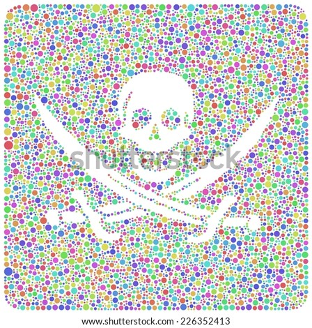 Pirate flag revisited in a mosaic of harlequin square - stock vector
